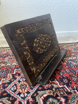 Beautiful Boho Wood Design Carved Book Holder for Recipe Book Or Bible for Sale in Mesa, AZ
