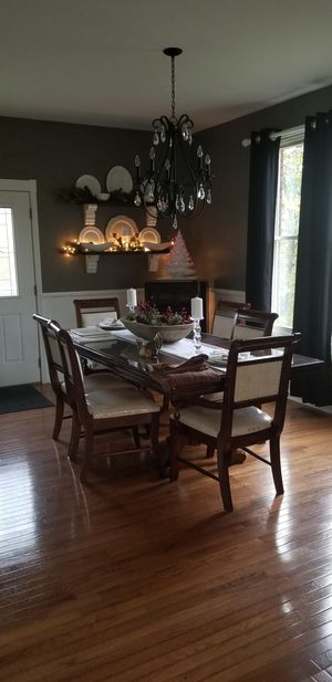 Ashley, cherry dinning table and six chairs for Sale in Richmond, KY