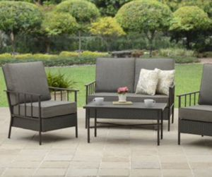 New!! Patio set, 4 pc cushioned coffee table patio set, outdoor conversation set, chat set, patio furniture , gray for Sale in Phoenix, AZ