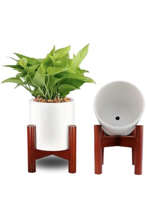 """Ceramic Planter Pot + Wooden Plant Stand, 6"""", New for Sale in Portland, OR"""