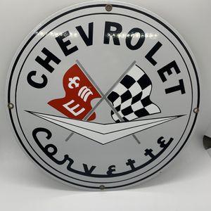 Vintage Chevrolet Corvette Metal Sign- Heavy Retro Chevy Memorabilia Car Collector Garage Signage for Sale in West Palm Beach, FL
