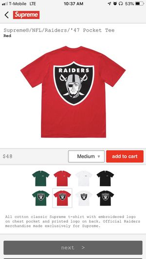 Supreme SS19 NFL Raiders '47 Pocket Tee Black Size Small for Sale in Franklin, TN