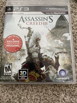 Assassins Creed iii ps3 for Sale in Fairfax, VA