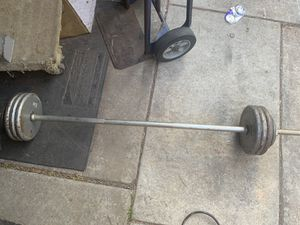 85 lbs standard size weights plus bar for Sale in Fullerton, CA