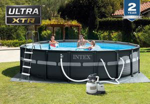 INTEX 18ft X 52in Ultra XTR Frame Pool Set with Sand Filter Pum for Sale in Riverside, CA