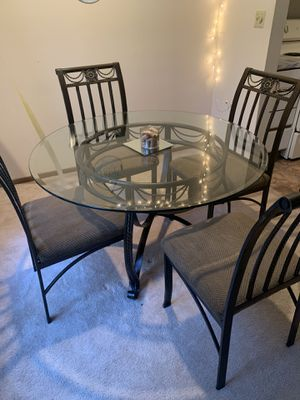 Glass and brown table with chairs for Sale in Columbus, OH