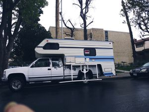 1993 Chevrolet SILVERADO truck with a 1987 Lance camper that sleeps 6 will bathroom shower refrigerator stove and much more must sell or trade for SUV for Sale in Los Angeles, CA