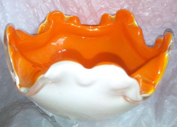 Murano Orange Cased Glass Candy Dish