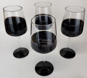 Set of 4 Elegant Black & Clear Large Wine Glasses FLAWLESS! for Sale in Mesa, AZ