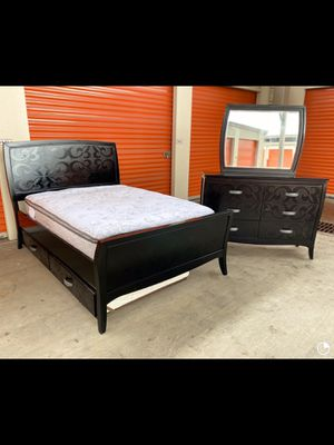 Full and twin bed frame with dresser mirror and mattress for Sale in Houston, TX