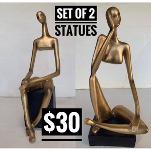 ▪️Golden Statues Home Decor Set of 2 ladies ➰new in box➰fast shipping for Sale in Phoenix, AZ