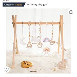 Wooden Baby Gym with 6 Baby Teething Toys Foldable Play Gym Frame Activity Gym Hanging Bar Baby Toy for Sale in Windermere, FL