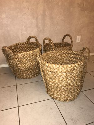 Large Wicker Baskets (3) **$25 for ALL** for Sale in Arlington, TX