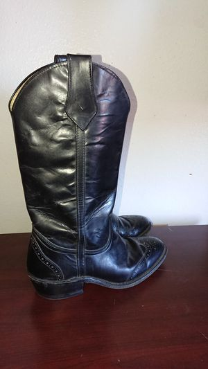 Frye 7.5 D cowboy boots black leather for Sale in Phoenix, AZ