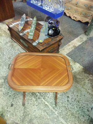 Small wooden end table with a glass serving tray and claw feet for sale for Sale in St. Louis, MO