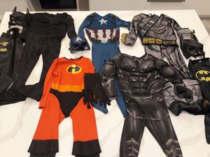 Size Small Batman , Captain America , Black Panther , The Incredibles Costumes Masks Capes Gloves - take all for $18 for Sale in Rancho Cucamonga, CA