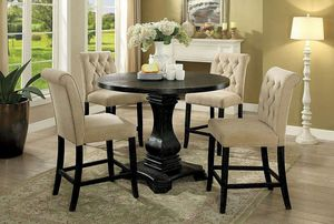 5 PCS Marla Round Counter Height table set-available in 2 colors $898.00 hot! Hot buy! Limited time offer! In stock! Free delivery 🚚 for Sale in Ontario, CA