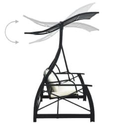 3-Seater Garden Swing Bench with Canopy Poly Rattan Black