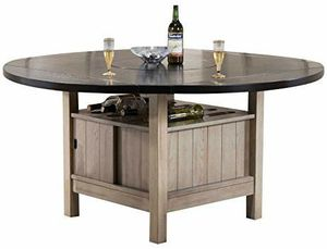 Brand New Major-Q Transitional Style Round Antique Beige Finish Dark Walnut Wooden Storage Dining Table with Wine Rack and Removable Lazy Susan for Sale in Los Angeles, CA