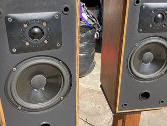 Vintage Polk Audio Speakers With Wood Stands for Sale in Norwalk,  CA