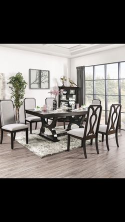 7 PC Expresso/grey Dinning Table for Sale in Fresno,  CA