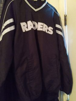 Raiders Pull Over Jacket az Med / Oakland Raiders Warren Sapp Jersey Size XXL / Raiders Fold Up Chair for Sale in Bakersfield,  CA