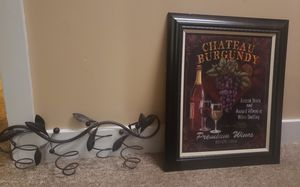 3 bottle wire wine rack and picture for Sale in Quincy, IL