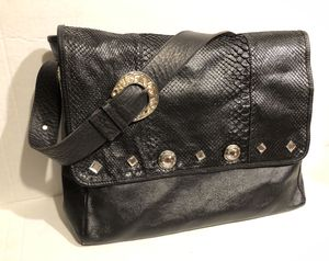 Vintage Black Studded Embossed Crocodile Alligator Leather Messenger crossbody bag Deborah Timbers for Cadenza Italy for Sale in Los Angeles, CA
