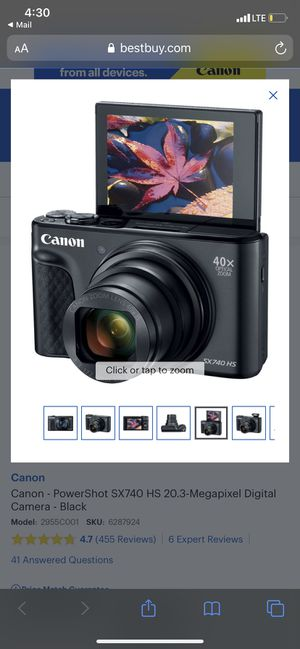 Canon - PowerShot SX740 HS 20.3-Megapixel Digital Camera - Black for Sale in Miami Gardens, FL