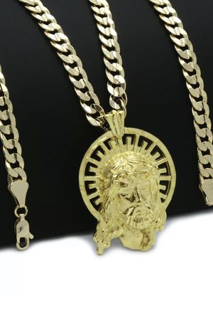 18k Gold Plated JESUS Halo Hip-Hop Pendant 6mm Cuban Chain Necklace for Sale in Los Angeles, CA