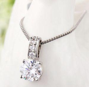 Fashion 925 silver necklace pendant women white sapphire wedding jewlery with gift box for Sale in Aldie, VA
