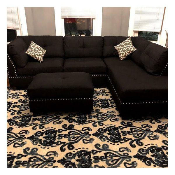 New black linen sofa sectional with ottoman 104x75