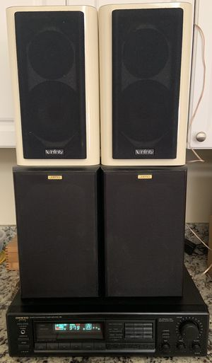 ONKYO Amplifier, 2 Jamo Bookshelf speakers and 2 Infinity Bookshelf speakers for Sale in Lake Worth, FL