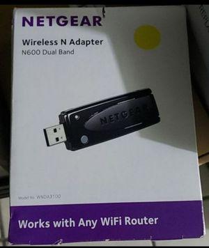 Netgear WNDA3100 Dual Band N600 1.1 2.0 USB WiFi Wireless Adapter, Black for Sale in Fontana, CA