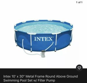 Intex 10 x 30 inches Metal Frame Round Above Ground Swimming Pool Set with Pump for Sale in Atlanta, GA
