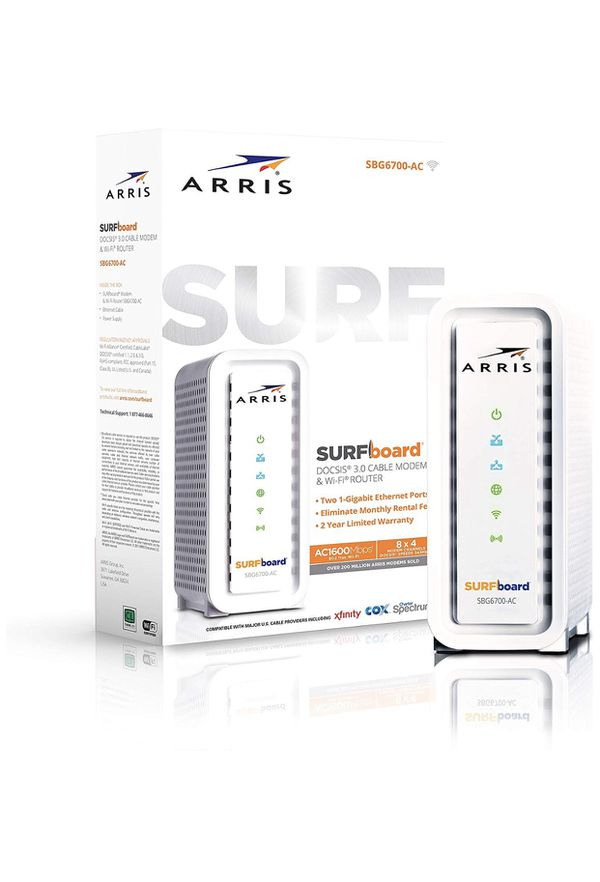 ARRIS SURFboard (8x4) DOCSIS 3.0 Cable Modem Plus AC1600 Dual Band Wi-Fi Router, 343 Mbps Max Speed, Certified for Comcast Xfinity, Spectrum, Cox & m