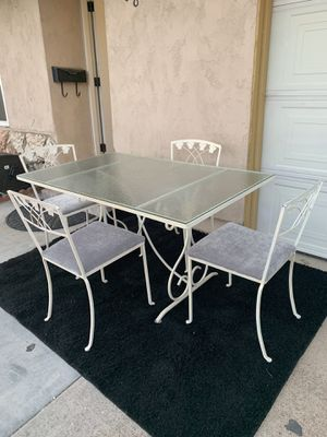 Dining table with chairs glass and iron for Sale in Chula Vista, CA
