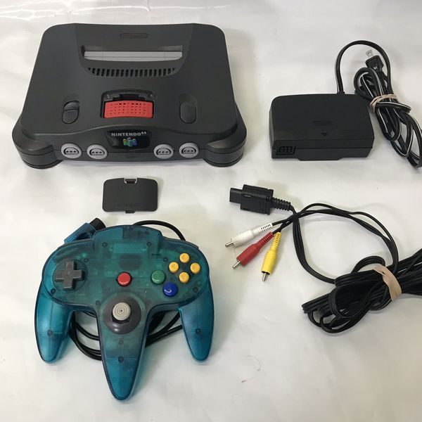 Nintendo 64 n64 system console with 1 controller and cables