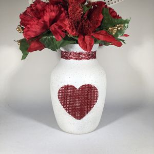 Hand Painted Vase With Heart Detail for Sale in Lancaster, PA