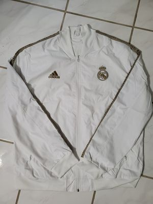 Adidas Men's Real Madrid Anthem Soccer Jacket 2020 White/Gold DX8695 XL for Sale in Sachse, TX