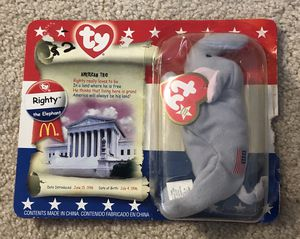 Ty Beanie Baby McDonalds Righty the Elephant USA Republican Party for Sale in Elk Grove, CA