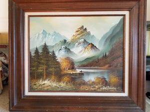 Mother's Day gift, mom Summer Mountain Lake, Mists, Clouds, Pristine, Aspen Scene Original oil painting canvas signed Antonio for Sale in Neavitt, MD
