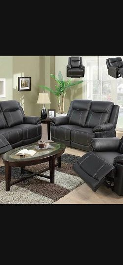 Black Leather Fully Reclinable Three Piece Sofa Set for Sale in Vancouver,  WA