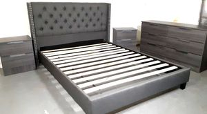 NEW PRETTY GRAY QUEEN BED FRAME WITH DRESSER AND 2 NIGHTSTANDS INCLUDED for Sale in Hialeah, FL
