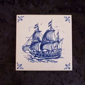 Vintage Delft Tile 17th Century Dutch Ship by Mosa Holland Netherlands Blue for Sale in Temecula, CA