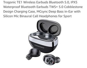 Brand New Trogonic TE1 Wireless Earbuds Bluetooth 5.0, IPX5 Waterproof Bluetooth Earbuds TWS+ 5.0 Cobblestone Design Charging Case, MCsync Deep Bass for Sale in Pittsburgh, PA
