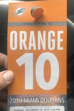 Miami Dolphins Orange parking pass vs Bengals for Sale in Miami, FL