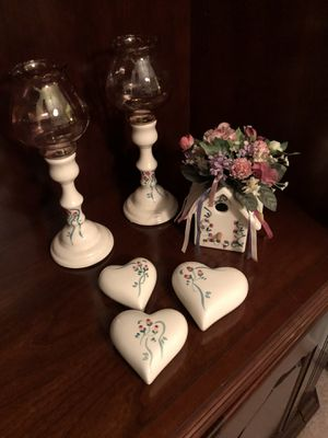 Ceramic hearts, candleholders, and birdhouse for Sale in Virginia Beach, VA