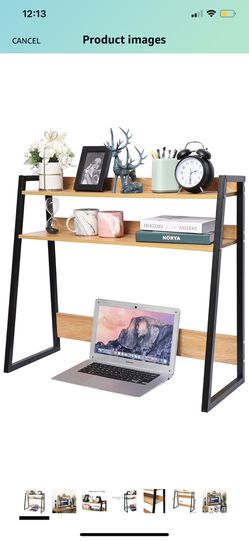 Desktop Bookshelf Wooden Bookcase ,Computer Desk Bookshelf Hutch Storage Organizer Shelves Rack for Office Supplies Organizer, Home Decor 2-Tier Brown for Sale in Brooklyn,  NY
