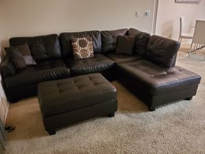 Brown leatherette couch with futon for Sale in Los Angeles, CA